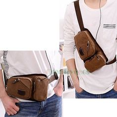 Mens-Canvas-Travel-Hiking-Cell-Phone-Belt-Hip-Fanny-Pack-Waist-Sling-Chest-Bag