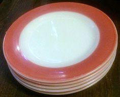 "Vintage Pyrex Corning Tableware Milk Glass Flamingo Pink Coral Band Dessert Salad Plates 8 1/4""- (Set of 5 Plates) Pyrex http://www.amazon.com/dp/B018BTLI3Y/ref=cm_sw_r_pi_dp_PpE4wb1ZKBA8V"