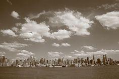 Fine Art Photography. New York City Skyline, Sepia.