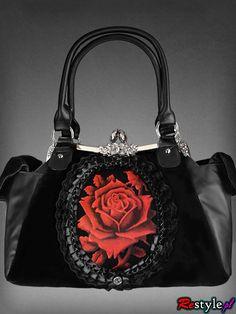 RED ROSE romantic gothic handbag on metal frame | HANDBAGS | Restyle.pl