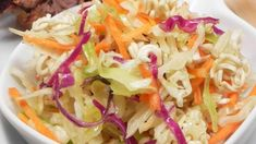 Ramen noodles, lots of shredded cabbage and chunks of chicken stirred into a sweetened vinegar and oil dressing. Chinese Cabbage Salad, Napa Cabbage Salad, Cabbage Salad Recipes, Salad Recipes Video, Cabbage Soup, Recipes In Marathi, Small Cabbage, Chicken Chunks
