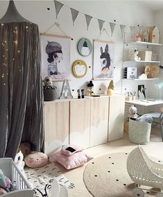 Children's room with IVAR cabinets in cloud design - .- Children's room with IVAR cabinets in cloud design – room - Baby Bedroom, Girls Bedroom, Kid Bedrooms, Bedroom Wall, Bedroom Decor, Teenage Bedroom Ideas Ikea, Kids Room Design, Playroom Design, Playroom Ideas
