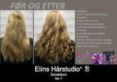 Blond langt hår striper krøll rettetang