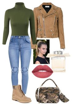 """Camo."" by frenkiefashion on Polyvore featuring Yves Saint Laurent, Timberland, GUESS and Chloé"