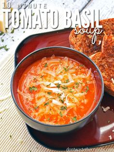 """Easy, Healthy Tomato Basil Soup Recipe. So simple and so satisfying. Serve with homemade bread and freshly shaved Parmesan cheese to """"dine out"""" at home."""