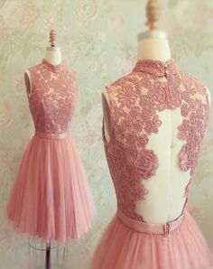 Gorgeous A-line High neck Pink Lace Appliques Short Tulle 2018 Homecoming Dresses Homecoming Dress Pink, Homecoming Dress, Prom Dress Cheap, Prom Dress A-Line, Appliques Prom Dress Prom Dresses 2020 Lace Homecoming Dresses, Tulle Prom Dress, Lace Dress, Bridesmaid Dresses, Bridal Dresses, Party Dress, Lace Bodice, Gown Dress, Graduation Dresses