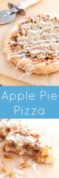 Made from scratch! Apple Pie Pizza with homemade easy 2-step pizza dough!