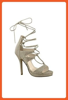 Luna Lace-Up Glitter Platform Heels Style 4193, Champagne, 5.5 - Sandals for women (*Amazon Partner-Link)