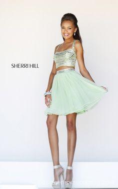 Sherri Hill 11060 Aqua Two Piece Sweet 16 Party Dress