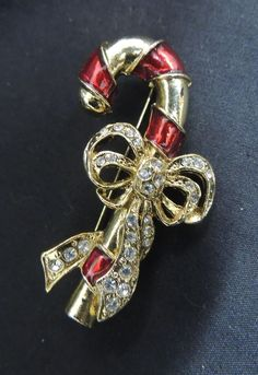 Vintage Christmas Brooch Pin Gold Rhinestone Enamel Red Candy Cane Holiday