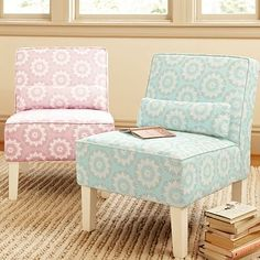 I love the Romantic Medallion Suite Bedroom Armchair, Pale Blue on pbteen.com