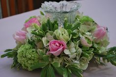 Vintage glass shade in pink & green centerpiece at Magnolia Plantation Conservatory Wedding Pews, Wedding Bouquets, Wedding Flowers, Candle Arrangements, Floral Arrangements, Flower Arrangement, Green Centerpieces, Wedding Centerpieces, All Flowers