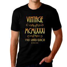 40th Birthday Gifts for Men - 1981 Birthday Gifts for Men - 40th Birthday Shirts Vintage 1981 Graphic Tees for Men - Black / XL