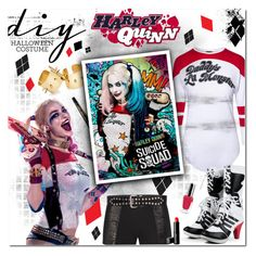"""""""Harley Quinn"""" by justlovedesign ❤ liked on Polyvore featuring Rachel McMillan, Guerlain, By Terry, Yves Saint Laurent, Beauty Is Life, halloweencostume and DIYHalloween"""