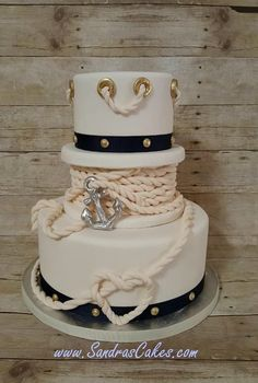 Sandras Cakes - nautical cake. Amazing gum paste work to do the anchor rope.