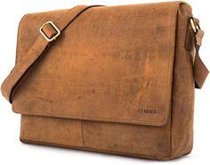 LEABAGS Oxford Umhängetasche aus echtem Büffel-Leder im Vintage Look - Braun: Amazon.de: Schuhe & Handtaschen