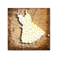 'Yellow on White' by Roderick Stevens Painting Print on Canvas