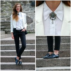 H Two Tone Blazer, Lindex Black Jeans, Clothingloves Fancy Brooch, Blink Pointy Toe Brogues