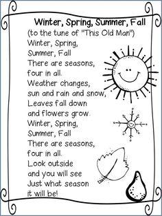 Seasons song: More - Colorful Dreams Kindergarten Nursery Kindergarten Songs, Preschool Poems, Preschool Music, Preschool Classroom, Preschool Learning, Preschool Activities, Seasons Kindergarten, Seasons Activities, Preschool Seasons