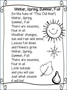 Poem Four Seasons This Poem Will Introduce Each Of The