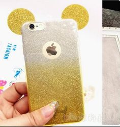 3D Minnie Mickey Mouse Ears Silicone Glitter Gradient Case for iPhone 4 4S 5 5S 6 6S 7 Plus