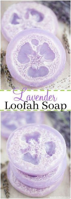 DIY loofah soap – how to make exfoliating loofah soap with lavender essential oil.