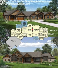 Architectural Designs One Story Mountain Ranch Home Plan 23609JD gives you over 3,200 square feet of living and great covered outdoor spaces in back. Ready when you are. Where do YOU want to build?