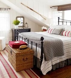 cottage bedroom - grey and red - love this color combination!