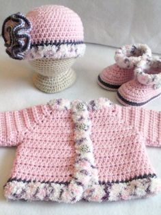 Crocheted baby girl's Sweater Set Crocheted Rosa Baby Girls Layette Crocheted Pink Baby Hat Sweater and Booties Baby Girl's Set, Diy Abschnitt, Crochet Baby Sweaters, Crochet Baby Hat Patterns, Baby Girl Patterns, Crochet Baby Cardigan, Baby Girl Sweaters, Baby Girl Crochet, Crochet Baby Clothes, Baby Girl Hats, Baby Girls