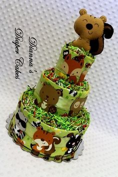 Woodland Animals Baby Diaper Cake with Squirrel Baby Rattle Shower Gift or Centerpiece