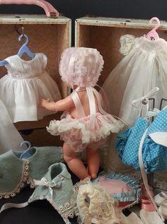 "So sweet <3 ~ Vintage doll & wardrobe. ... ""Repinned by Keva xo""."