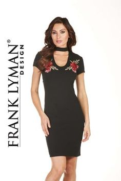Frank Lyman 2017. Stunning floral crepe knit dress with choker neckline. Proudly Made in Canada