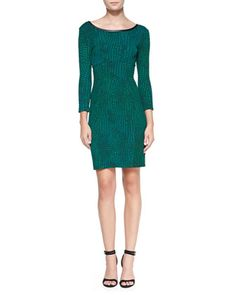 3/4-Sleeve Reptile-Print Dress with Faux-Leather Neck by Yoana Baraschi at Neiman Marcus.