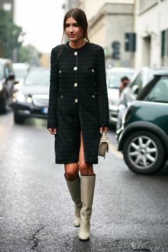 military coat with gray boots