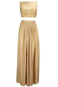 Drops of gold crop top and maxi skirt available only at Pernia's Pop-Up Shop.