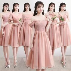 975f02354b4 Blush Chiffon Bridesmaid Dresses 6 Style Knee Length Wedding Guest Gowns  Formal Party Gowns cheap ZB083