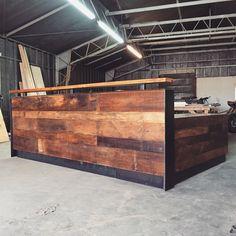 Reclaimed Wood & Steel Reception Desk (10') by RevivalSupplyCo on Etsy https://www.etsy.com/listing/265421091/reclaimed-wood-steel-reception-desk-10