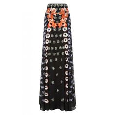 Temperley London Long Sylvie Skirt ($3,495) ❤ liked on Polyvore featuring skirts, black mix, maxi, long skirts, patterned maxi skirt, draped maxi skirt, a line maxi skirt and high waist long maxi skirt