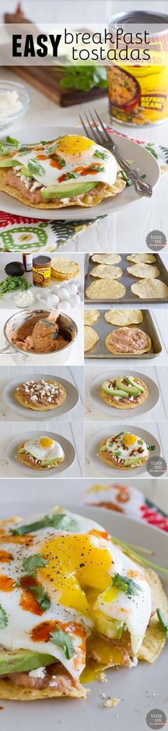 I could substitute black beans and egg whites. You will not want to save these Easy Breakfast Tostadas just for breakfast! This flavor-packed recipe is great for breakfast, lunch or dinner. Breakfast Dishes, Breakfast Time, Best Breakfast, Breakfast Recipes, Breakfast Healthy, Mexican Breakfast, Tostadas, Comida Diy, Cooking Recipes