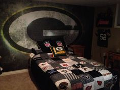 My 9 year old son's bedroom Green bay Packers