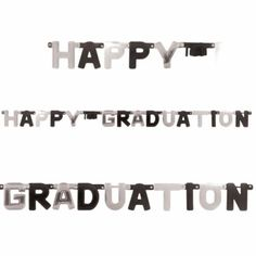 Graduation large letter banner in black & silver  http://www.wfdenny.co.uk/p/black-silver-happy-graduation-letter-banner/5742/