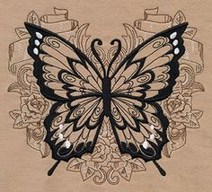 Background stitching in colors lighter and darker than the fabric give this butterfly design eye-catching dimension.