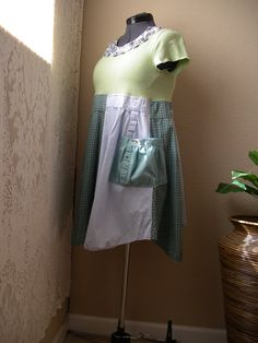 Baby Doll Summer Tunic/ Blue and Green Funky Top/ Upcycled Eco