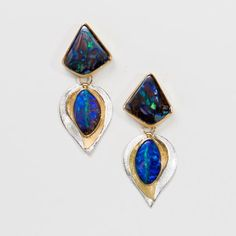 layered-boulder-opal-hinged-earrings-bi-metal-22k-18k-14k-gold-sterling-Jennifer-Kalled