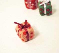 Felted Christmas ornament  holiday decor  set of  3 by vilnone