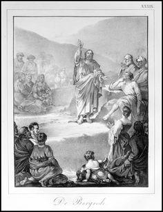 De Bergrede.    Grafic : Litho from : Handboek der Bijbelsche Geschiedenis Size Picture : 16 x 21 cm Year : 1830 Fecit : I.W.Vos Uitgev. : S.de Visser & J.van Baalen Rotterdam