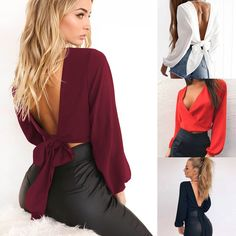 Summer Women T-shirt Casual Off Shoulder Crop Top Solid Long Lantern Sleeve Top Backless Female T-Shirt Chiffon Clothes. African Fashion Ankara, Latest African Fashion Dresses, Tenues Brandy Melville, Fall Business Attire, Elegant Dresses Classy, Casual Outfits, Fashion Outfits, Black Girl Fashion, Blouse Designs