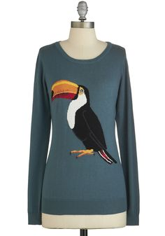 Beak Your Mind Sweater. They say birds of a feather flock together, and when you wear this printed pullover sweater from Sugarhill Boutique, your bold crew takes notice. #green #modcloth