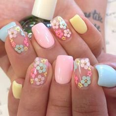 Nail art is one of many ways to boost your style. Try something different for each of your nails will surprise you. You do not have to use acrylic nail designs to have nail art on them. Here are several nail art ideas you need in spring! Easter Nail Designs, Colorful Nail Designs, Nail Designs Spring, Cute Nail Designs, Pretty Designs, Flower Nail Designs, Nails With Flower Design, Coral Nail Designs, Acrylic Nail Designs For Summer