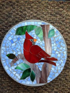 Brilliant Cardinal Stained Glass Stepping Stone by BusterBrownPaws